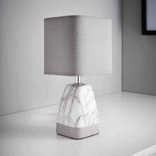 Elegant Modern Contemporary Stylish Marble effect Table Lamp Sitting Bedroom - Light Grey