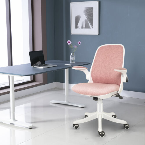ELECWISH Office Chair Mid Mesh Back Swivel Seat with Armrests Pink