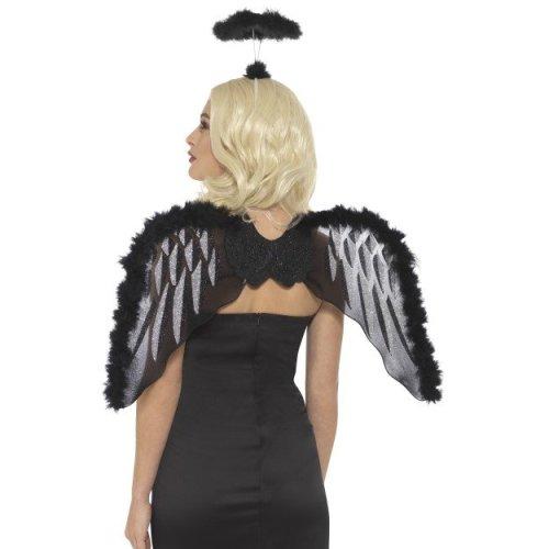 Black Glitter Wings Halo Fancy Dress Accessory Fallen Angel Set