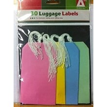 Luggage Labels 75x135 mm Assorted Colors Strung Tags (Pack of 30)