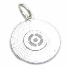 Record sterling silver charm .925 x 1 Records Music charms