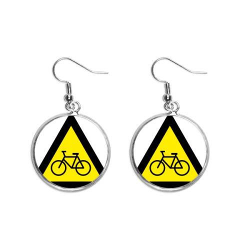 Warning Symbol Yellow Black Bicycle Triangle Ear Dangle Silver Drop Earring Jewelry Woman