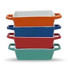 Set of 4 Mini Rectangle Ceramic Baking Dish