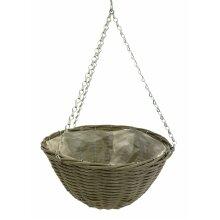 Grey Wicker Effect Plastic Round  Flower Herb Hanging Plant Planting Pot Basket