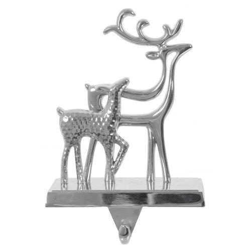 Mr Crimbo Christmas Stocking Hanger Holder Silver Metal Reindeer Fireplace Hook