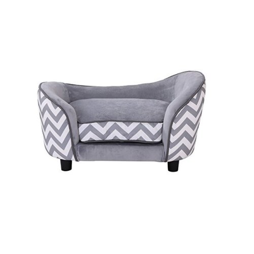 PawHut Plush Grey Dog Couch | Patterned Pet Sofa
