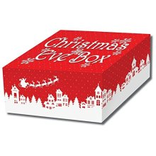 Traditional Night Before Christmas CHRISTMAS EVE BOX - Sturdy Cardboard Christmas Eve Box - Red & White Collapsible Christmas Eve Box