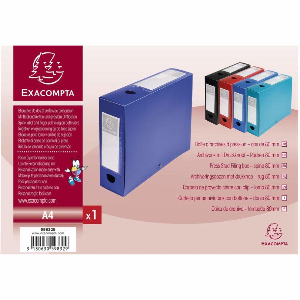 blau 3130630598329 EXACOMPTA Archivbox mit Druckknopf PP 80 mm 59832E