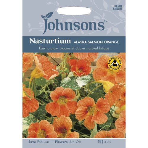 Johnsons Seeds - Pictorial Pack - Flower - Nasturtium Alaska Salmon Orange - 25 Seeds