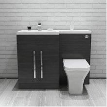 Calm Grey Left Hand Combination Vanity Unit Set with Toilet