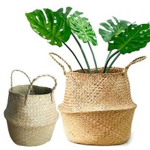 Foldable Seagrass Belly Basket Flower Plant Pot Home Storage Wickerwork Hamper