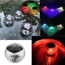 Outdoor Solar LED Floating Lights Garden Pond Pool Lamp Rotating RGB light Bulbs
