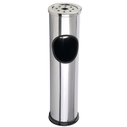 GEEZY Free Standing Stainless Steel Cigarette Stand | Outdoor Bin With Ashtray