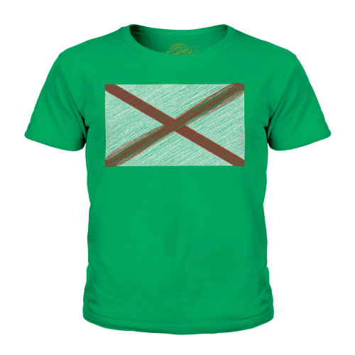 (Irish Green, 7-8 Years) Candymix - Alabama State Scribble Flag - Unisex Kid's T-Shirt