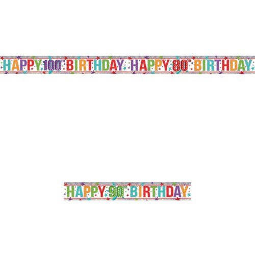 Amscan Old Age Happy Birthday Multicoloured Holographic Foil Banner