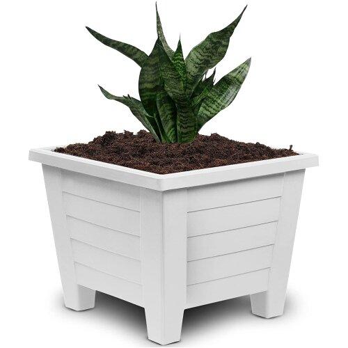 (19 cm, White) Large Plastic Flower Plant Square Pots Indoor Outdoor Pot Garden Container Patio