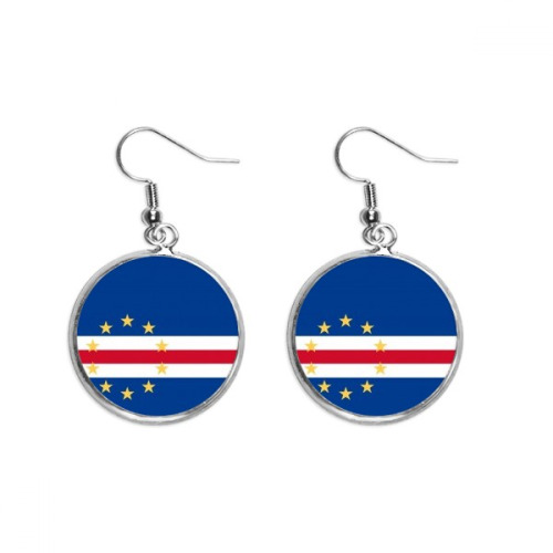 Cape Verde National Flag Africa Country Ear Dangle Silver Drop Earring Jewelry Woman
