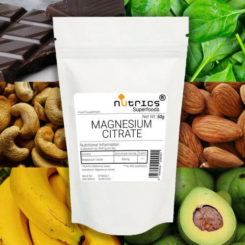 Nutrics® MAGNESIUM CITRATE 50g Powder Muscles Bones Fatigue Tiredness