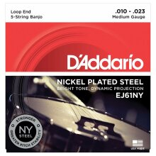 Banjo Strings D'Addario EJ61NY 5 String Banjo NY Steel Medium 10-23 Loop End