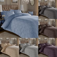 600 Thread Count Jacquard Cotton Rich Damask Duvet Cover With Oxford Pillowcases