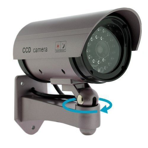 Kabalo Realistic Dummy CCTV Security Camera Flashing Red LED Indoor Outdoor Silver
