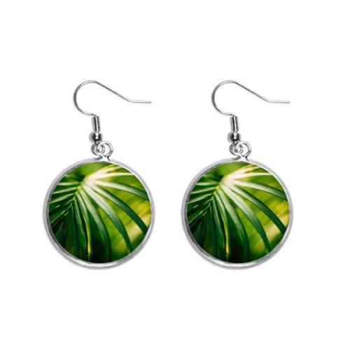 Green Leaf Plant Picture Nature Ear Dangle Silver Drop Earring Jewelry Woman