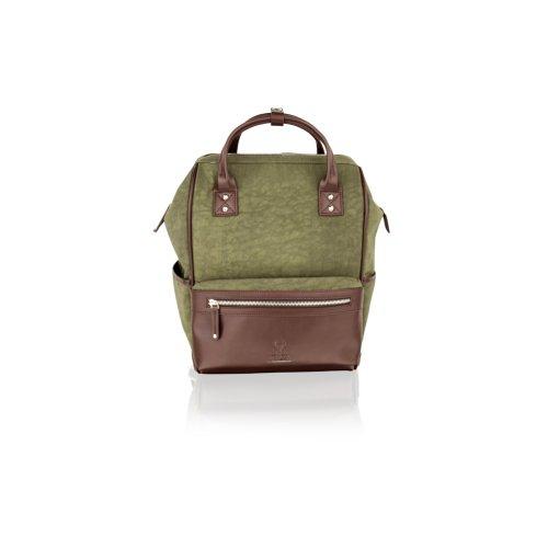 """Woodland Leather Olive Country Ruck Sack 14.5"""" Multi Pockets Adjustable Shoulder Strap"""