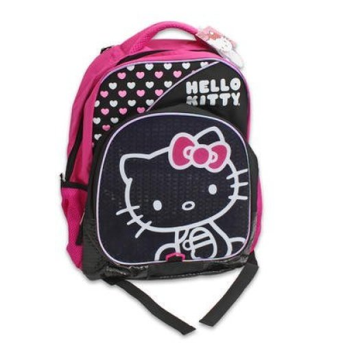 "Backpack - Hello Kitty - Pink & White Hearts 16"" School Bag New 119296"