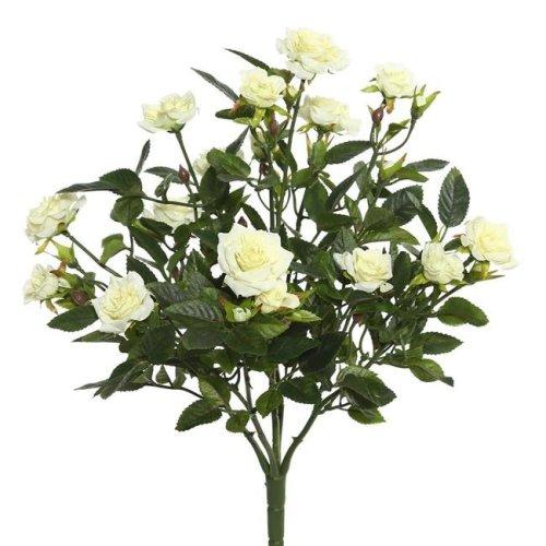 Vickerman FL171102 White Mini Diamond Rosa X5 Floral Bush - 15 in.