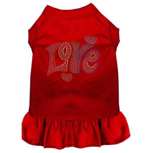 Mirage Pet 57-61 XXLRD Technicolor Love Rhinestone Pet Dress, Red - 2XL