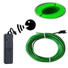 EL Wire Green, Sounds Control/Constant Light/Flash 9ft Neon Lights Neon Wire Neon Glowing Strobing Electroluminescent Wire with Battery Operated for