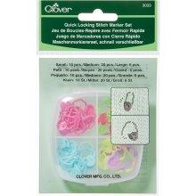 Clover Quick Locking Stitch Marker Set, Multi-Colour