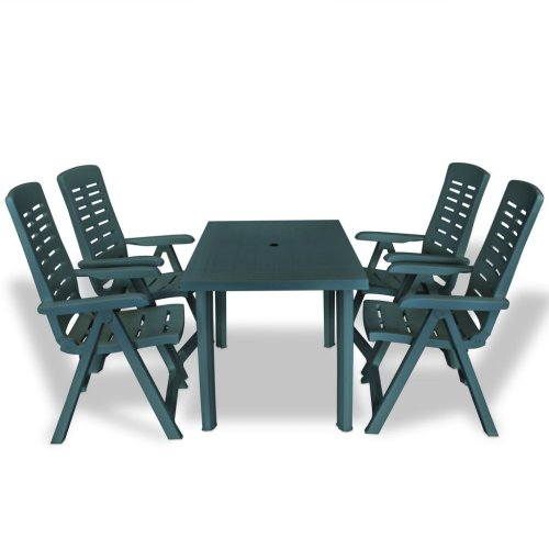 vidaXL Outdoor Dining Set 5 Piece 126x76x72cm Green Garden Table Folding Chair