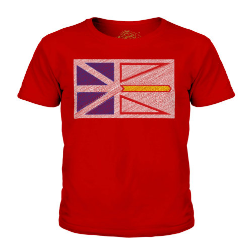 Candymix - Newfoundland And Labrador State Scribble Flag - Unisex Kid's T-Shirt