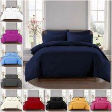 Plain Reversible Duvet Quilt Cover Pillowcase Set