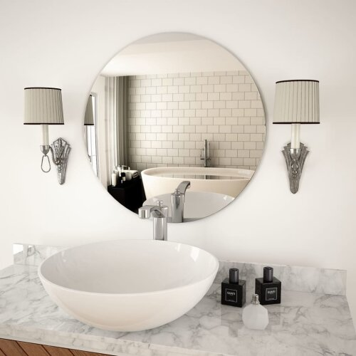 vidaXL Wall Mirror 60cm Round Glass Home Bedroom Vanity Makeup Dressing Decor