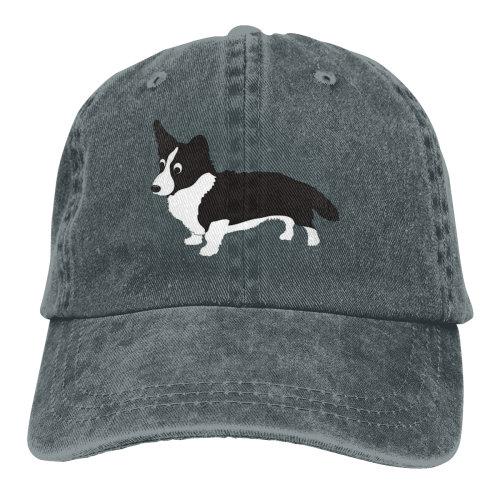 Black Corgi Denim Baseball Caps