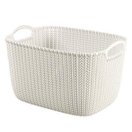 Curver Knit Rectangular Storage Basket, Oasis White, 19 Litre