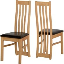 2x Ainsley Dining Chairs Oak Veneer/Brown Faux Leather (Sold In Pair)