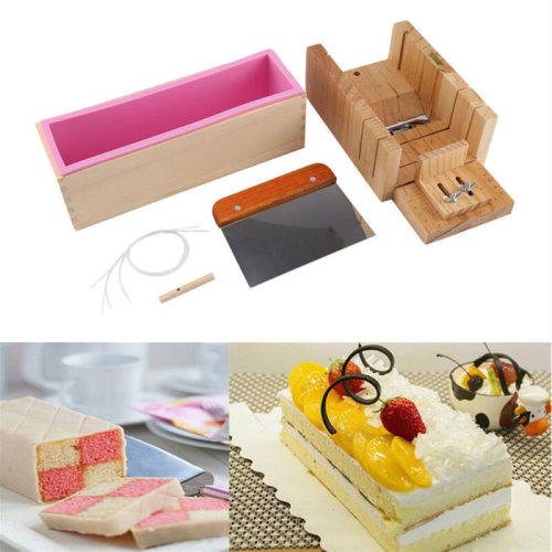 DIY Soap Mould Silicone Mold Cake Making Tool Wooden Box+Slicer Cutter