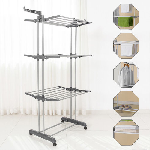 Foldable Extra Large 3 Tier Indoor Outdoor Clothes Airer Laundry Drye