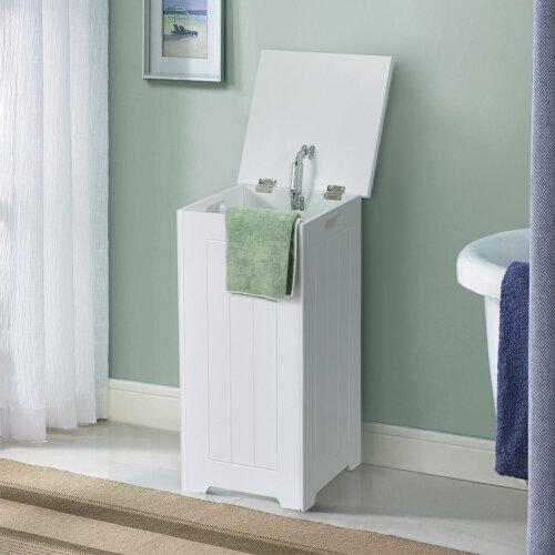 Wooden Laundry Cabinet Hamper Chest White Storage Cupboard Bin Home