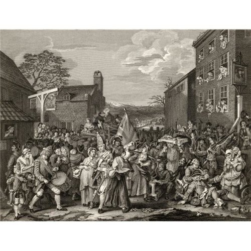 The March to Finchley Engraved by T E Nicholson After Hogarth From the Works of Hogarth Published London 1833 Poster Print, 32 x 24