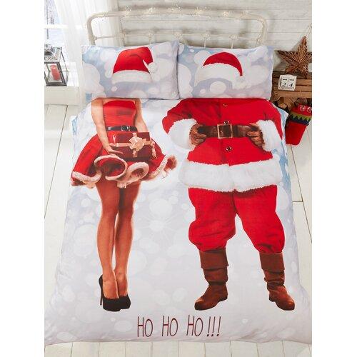(King Size) Selfie Santa Christmas Duvet Cover and Pillowcase Set