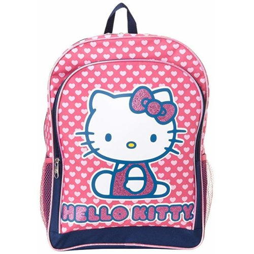 "Backpack - Hello Kitty - Hearts Glitter Pink 16"" School Bag New 826144"