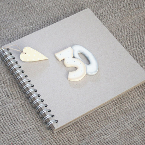 East of India Keepsake Book - 30th Birthday Brown Kraft Cover Thirty Guest Book