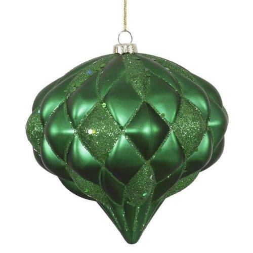Vickerman M112204 Green Matte-Glitter Diamond Ornament, 5.7 in.