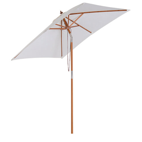 Outsunny Wooden Garden Parasol With 6 Bamboo Ribs - 2 x 1.5m