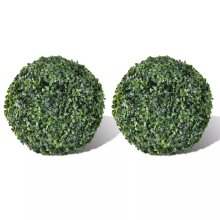 vidaXL 2x Boxwood Ball 27cm Artificial Leaf Topiary Ball Outdoor Indoor Decor