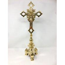 Brass Crucifix Free Standing Cross Jesus Christ Religious Ornament 51 cm